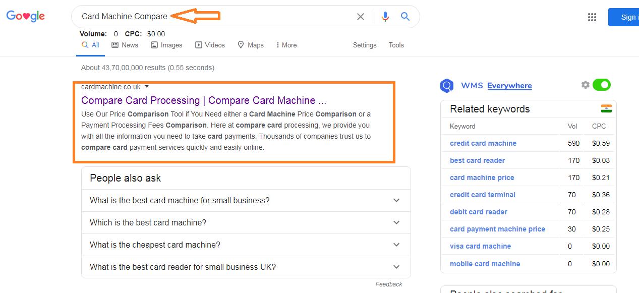 Cardmachine Keyword rank